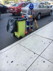 Street cleaner in Lima, peru