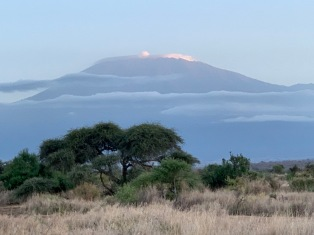 Mt. Kilimanjaro appears from behind the clouds