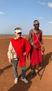 ML wearing a Maasai shuka