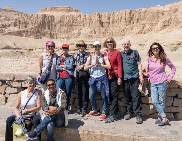 Tour group in front of temple