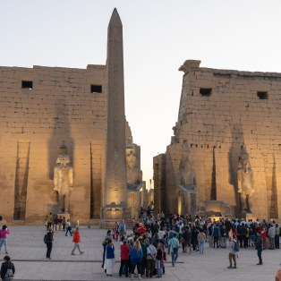 Luxor lights up at sunset